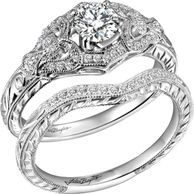 John Bagley Collection Diamond Engagement Ring and Matching Wedding Band