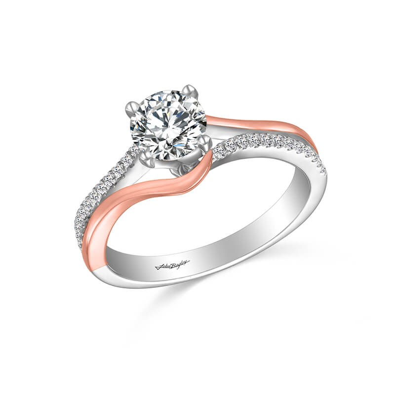White/Rose Engagement Ring
